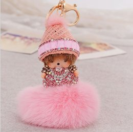 Wholesale Fairy Knitting - fashion vision crystal gold plated knitted hat girl baby key chain rings with puffer ball car pendant jewelry model no. kj0004