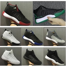 pro lace Promo Codes - New Jumpman Pro Men Basketball Shoes 12.5s Bred Taxi Black Red White Blue Sugar Ray Sports Sneakers High Quality With Box