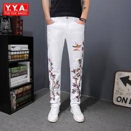 Длинные цветочные джинсы онлайн-Embroidery Jeans Men 2018 Spring White Floral Bird Embroidery Trousers Korean Style Personality Slim Fit Pencil Denim Long Pants