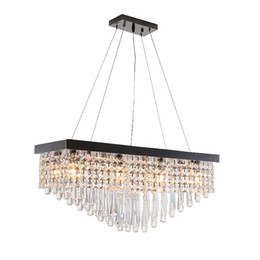 Wholesale Hanging Crystal Glass - Modern Crystal Chandelier For Dining Room Rectangle LED Hanging Lighting Pearl Black Stainless steel Suspension Lamps