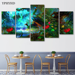 Wholesale art decor peacock - YPHYHD 5 Pieces Modular Wall Paintings Green Peacock Canvas Painting Print Poster Frame Picture Decor Wall Art Modern Painting
