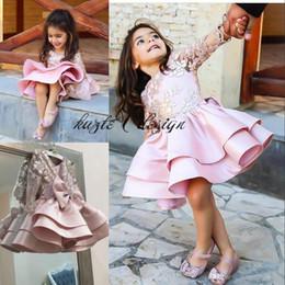 2019 детские платья Розовое платье до колен для девочек-цветочниц Золотая аппликация из искусственной кожи с длинными рукавами Устали атласные платья для девочек