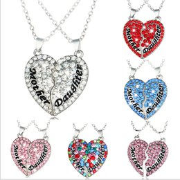 Wholesale Heart Diamond Pendants - New hot foreign trade mother and daughter mothers and daughters heart-shaped diamond stitching pendant necklace Mother's Day gift