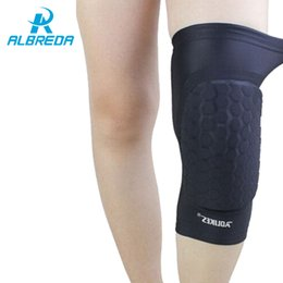 Wholesale Blue Hex - ALBREDA 1 pair hex sponge knee pads leg compression sleeve knee braces for basketball kneepad support Sports Safety sponge