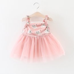 Wholesale Baby Swan Dress - Baby girls swan print Tulle dress 2018 suspender Children Lace Net yarn princess dresses Boutique Kids Ball Gown C3826