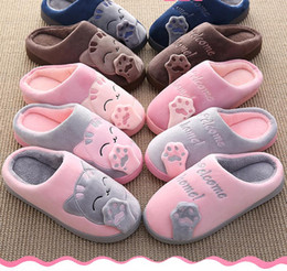 Grande gatto di peluche online-Cat Animal Prints Cute Home Slippers Short Plush Warm Cotton Soft Slippers Women Loves Floor Indoor Shoes Women Large Size 45