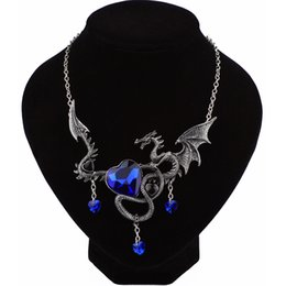 Wholesale Flying Heart Necklace - whole saleNew Arrival Flying Dragon Necklace Pendant With Blue Heart Crystal Chinese Ethnic Necklace Female Male Christmas Gifts