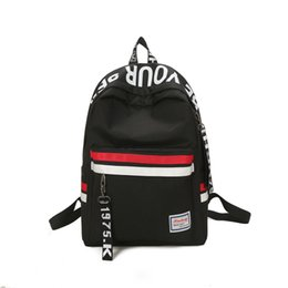south korean style backpacks Coupons - Strips Backpack Preppy Style Black Letter School Backpack For Teenage Girls Japanese and south Korean style Leisure Travel Bag