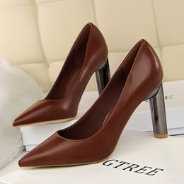 Wholesale Point Coffee - Shoes Woman Chunky High Heels Sandals Pointed Toe Pumps Shallow Slip on Slides Occupation Shoes Coffee Black Red White Brown Khaki