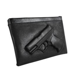 Wholesale envelope clutch messenger bag - 2018 Gun 3D print handbag women clutches chains pu leather crossbody bags woman messenger candy color shoulder bags