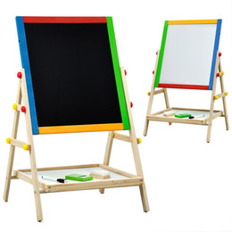 Wholesale Wooden Easels - Children Kids 2 In 1 Wooden Drawing Board Artist Easel,Double-sided Easel,Black Chalk Board White Dry Ease Board,Small