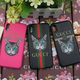 Wholesale Mobile Cover Back Paintings - Case for iPhoneX 8 7 6plus Luxury Painted Printed Dog & Cat Mobile Shell for iPhone7plus 8plus hard back cover