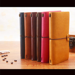 Wholesale Journals Free Shipping - Wholesale 1 PCS Retro Leather Bound Travel Notebook Handmade Memory Diary School Office Supplies Notepad Free Shipping