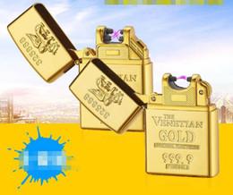 encendedores de oro Rebajas El más nuevo Gold Brick DoubleSingle Usb Arc encendedor de cigarrillos electrónico eléctrico recargable pulso encendedores caja de regalo para fumar herramientas