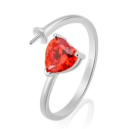 Wholesale unique heart rings - Unique Design 1 Piece 925 Sterling Silver Adjustable Ring Accessories with Red Heart-shaped Zircon, Jewelry Making