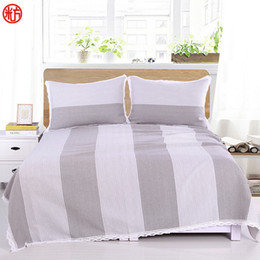 Wholesale Yellow Bedspreads Queen - Coarse Cloth Bed sheet set Silver grey Sheet&Pillowcase set Big stripe bed cover 250*250cm bedspread Lace Edge flat sheet