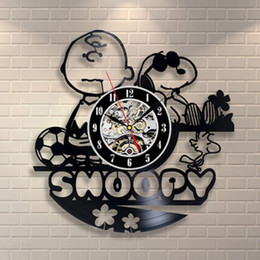Wholesale character wall clocks - Snoopy Vinyl Record Wall Clock Vinyl Creative Vintage Handmade Home Decorating Wall Clock Kids Character Decoration