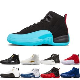 Wholesale man online games - Online Cheap 12 Bordeaux Dark Grey Wool Basketball Shoes White Flu Game UNC Gym Red Taxi Gamma French Blue Suede Sneakers 36-47