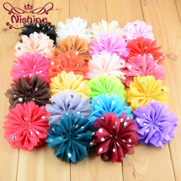 Wholesale Gold Flower Hair Comb - Nishine 120pcs lot 8cm 22colors Chiffon Headband Flower Hair Flowers Fabric Flowers with Gold Dot for Baby Girls Hair Accessories