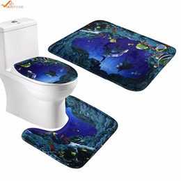 Wholesale cartoon seat covers - 3pcs set Bathroom Non-Slip Pedestal Rug + Lid Toilet Cover + Bath Mat Underwater World Bedroom Kitchen Bed Car seat Sofa Mat pad