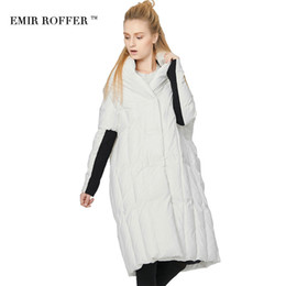 Wholesale Winter Hat Italy - EMIR ROFFER 2017 Italy Fashion Women's Down Jacket Winter Large Size White Duck Down Long Quilted Coat Female Parka Outwear
