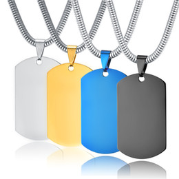 Wholesale Metal Blanks Pendants - Identity card stainless steel sling men titanium steel pendant blank gold military card custom character engraved