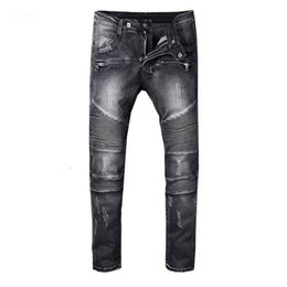 Wholesale gold pants for men - balmain skinny jeans for men ripped holes jeans Motorcycle Biker Denim pants Men Brand fashion Designer Hip Hop Mens Jeans