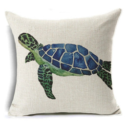 Wholesale 18x18 Pillow Cases - Cute and Lovely Cotton Linen Pillow Case Sea Pillow Case 18x18 inches Animal Turtle Waist Throw Pillow Cover