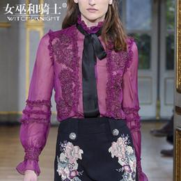 Langärmliges lila hemd online-2018 Herbst neue Stil Damenbekleidung, langärmelige Bluse, bestickte Lotusblatt Shirt, lila Shirt mit Hemd weiblich.