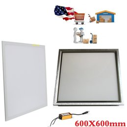 Wholesale Usa Ac - 600X600mm led panel Lights Silver White frame 48W 2ft X 2ft led light Panel Lamp AC 110-240V + Waterproof Drivers + Stock In USA