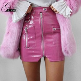 Wholesale Sexy Leather Mini Skirts - Women Faux Leather Pencil Skirts Pink Button Front Zipper Mini High Waist Skirt Female Autumn Winter Fashion Sexy Party Skirts
