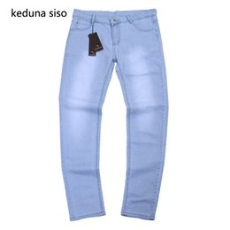 9d53ad26a36 2018 Spring Summer Men Light Blue Jeans Male thin Pencil Pants Denim Long Trousers  Skinny Jeans