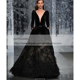 Wholesale fall fashion collection - Ziad Nakad FW 2018 Collection Evening Dresses Deep V Neck Velvet Sequins Feather Long Sleeve A Line Formal Occasion Prom Dresses Custom Made