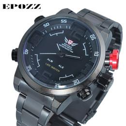 Relojes analógicos de gran deporte online-Epozz Reloj deportivo redondo de acero inoxidable para hombre relogio masculino Reloj analógico digital de pulsera Impermeable 3ATM Pantalla LED 2309