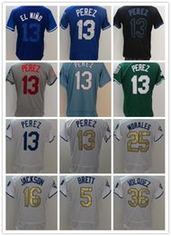 Wholesale Embroidery Services - Baseball jersey Men's #13 PEREZ jersey KC Royals 25 Morales 16 Paulo Orlando to Service Stitched Baseball jerseys Embroidery Logo