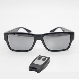 cartão de furo Desconto GANSS Vídeo Óculos Controle Remoto Mini Câmera Óculos De Sol 1080 P HD Sem Furo Cam Camcorder DV DVR Gravador Embutido Cartão De Armazenamento 16 GB
