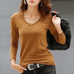 Wholesale Long Shirts For Women Simple - Wholesale-Fashion simple ladies pure color t shirts stylish crimping v-neck long sleeve t shirt slim fit casual cotton t-shirt for women