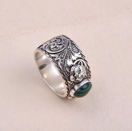 aguafuerte de acero inoxidable Rebajas S925 anillo de plata pura con diseño de cabeza de malaquita y leopardo de la naturaleza para las mujeres y el regalo de la joyería de la boda del hombre PS5522