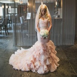 Discount sweetheart tier mermaid wedding dress - 2018 Blush Pink Sweetheart Mermaid Wedding Dresses Organza Sweep Train Lace Up Cascading Ruffles Bridal Dress Custom Made