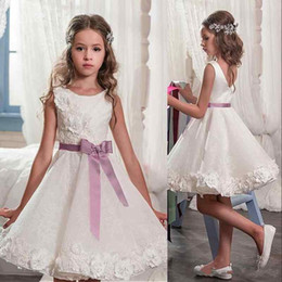 Wholesale Cheap Mini Christmas Lights - 2018 Summer New Short Flower Girl Dresses White Hand Made Flowers with Purple Sash Girls Birthday First Communion Gowns Cheap