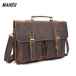 "Wholesale Briefcase Hasp - Mens hard crazy horse leather laptop bag 14"" Genuine Leather business Bags Brown Real work Tote briefcase messenger Bag"