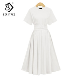 longo vestido de noite de casamento branco Desconto 2018 primavera nova chegada mulheres dress sólidos cintura alta tornozelo-comprimento de manga curta magro elegante oversize vestidos vintage d85306y