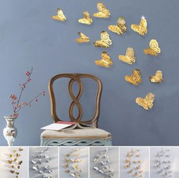 Wholesale wall paper stickers animals - 3D Hollow Butterfly Art Wall Stickers Bedroom Living Room Home Decor Kids DIY Decoration 12pcs Set 50Sets OOA4194