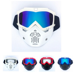 c8457a62e1 Motocross Goggles Glasses Face Dust Mask With Detachable Motorcycle Oculos  Gafas And Mouth Filter For Open Face Vintage Helmets
