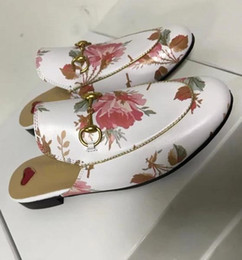 Wholesale Red Winter Indoor Slippers - AAAAA 505511 Princetown Print Leather Slipper Loafer Shoes,Leather Sole,metallic Gold Piping,with Dust Bag Box Receipt