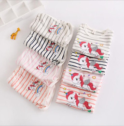Wholesale toddler outfits for boys - Ins Rainbow Unicorn Baby Kids T-shirt Shorts 2pcs set Outfit girls boys Clothes Summer striped tops tee Outwear Pajamas for Toddler KKA5048