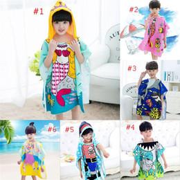 Wholesale wholesale kids bathrobes - 8 styles Mermaid bathrobe Kids Robes cartoon animal shark Nightgown Children Towels Hooded bathrobes to688