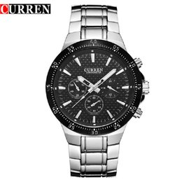 Relógio de pulso em aço inoxidável curren on-line-Homens Assistir Curren Marca Mens Relógios de Aço Inoxidável À Prova D 'Água Analógico Quartz Relógio de Pulso Moda Casual Business Masculino Relógio 2018