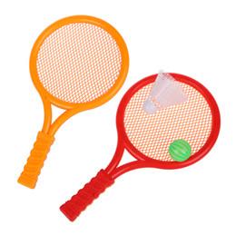 Raqueta de plástico online-Juego de Juego de Niños Juego de Juguete de Raqueta de Bádminton de Tenis de Plástico Naranja Rojo