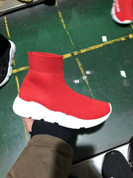Wholesale Cheap Casual Boots - Good Quality Red black Speed Trainer Casual Shoe Man Woman Sock Boots With Box Stretch-Knit Casual Boots Race Runner Cheap Sneaker High